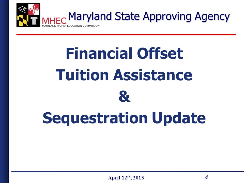 April 2010 April 12 th, 2013 Maryland State Approving Agency Financial Offset Tuition Assistance & Sequestration Update 4