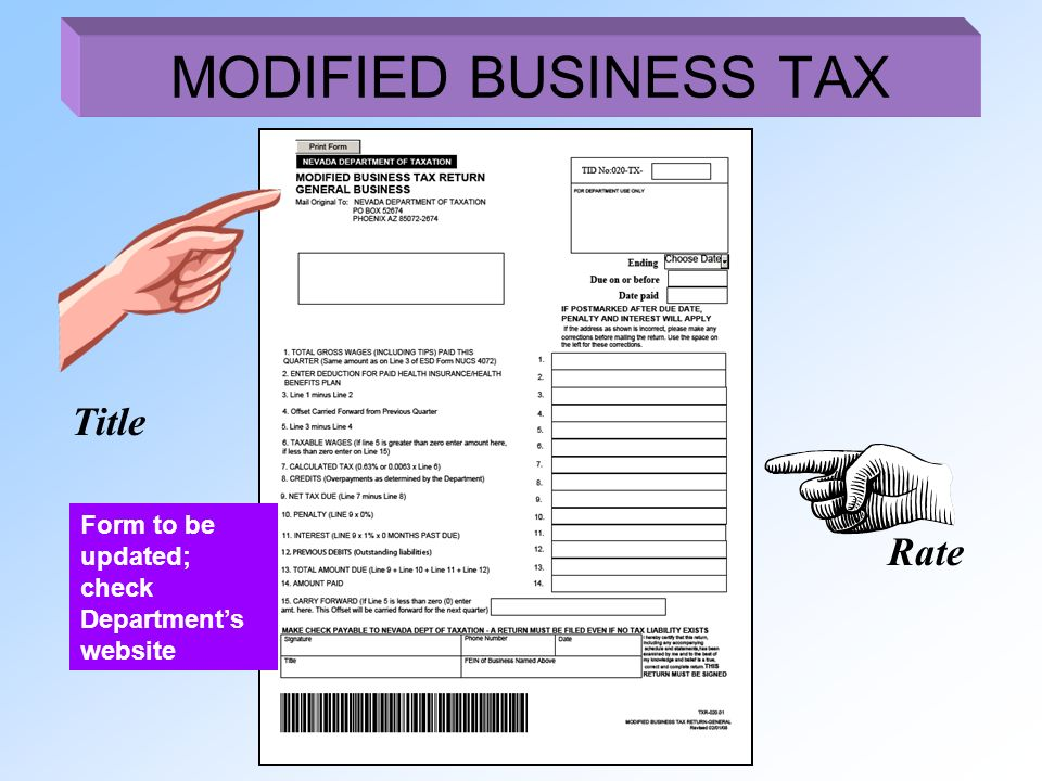 Title Rate MODIFIED BUSINESS TAX Form to be updated; check Departments website