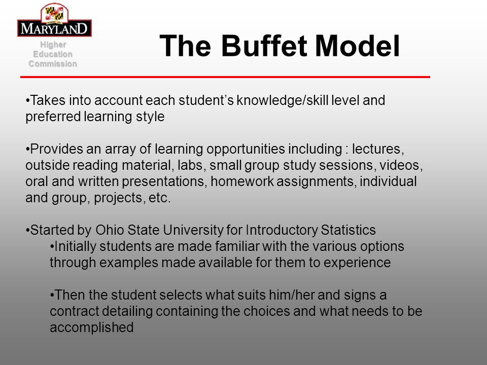 Higher Education Commission The Buffet Model Takes into account each students knowledge/skill level and preferred learning style Provides an array of