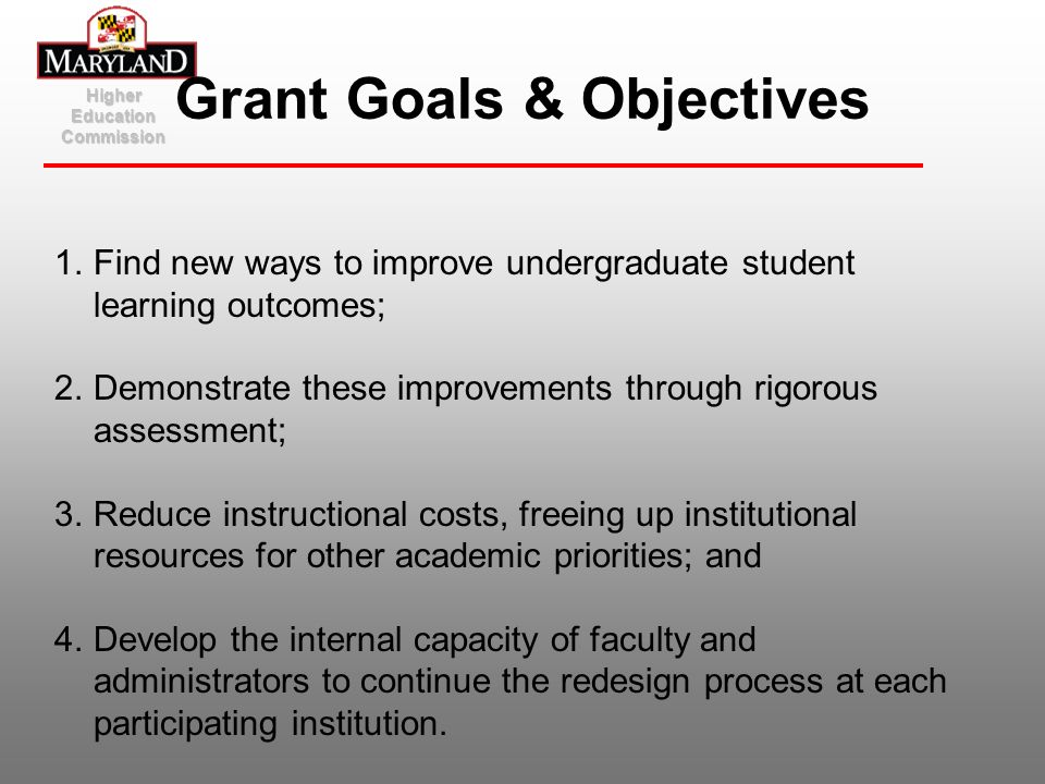 Higher Education Commission Grant Goals & Objectives 1.Find new ways to improve undergraduate student learning outcomes; 2.Demonstrate these improveme