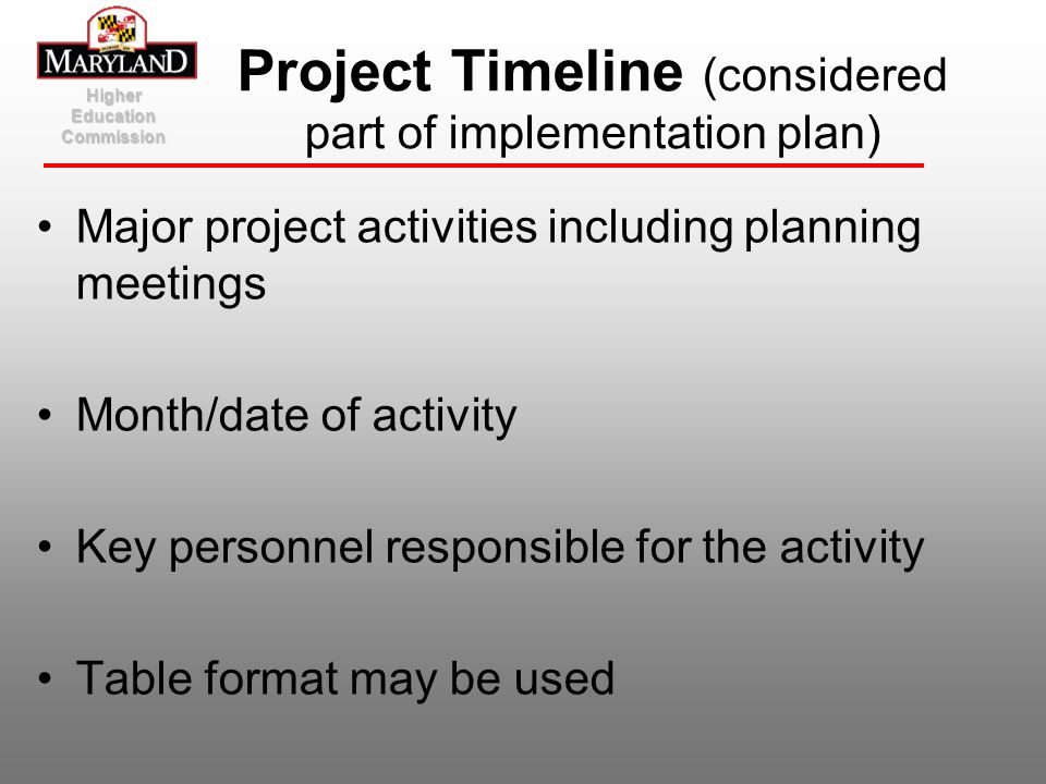Major project activities including planning meetings Month/date of activity Key personnel responsible for the activity Table format may be used Higher