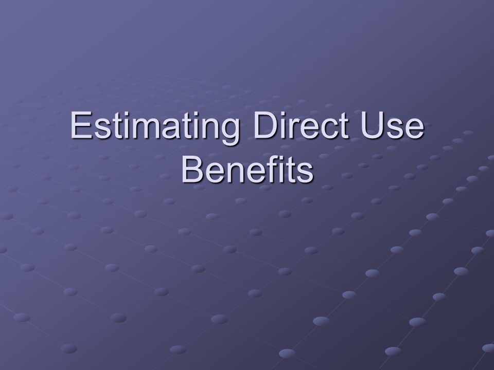 Estimating Direct Use Benefits