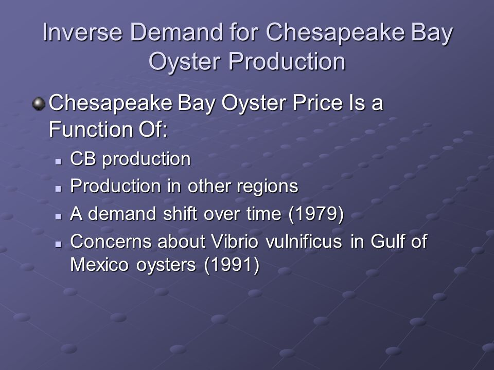 Inverse Demand for Chesapeake Bay Oyster Production Chesapeake Bay Oyster Price Is a Function Of: CB production CB production Production in other regions Production in other regions A demand shift over time (1979) A demand shift over time (1979) Concerns about Vibrio vulnificus in Gulf of Mexico oysters (1991) Concerns about Vibrio vulnificus in Gulf of Mexico oysters (1991)