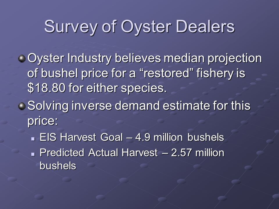 Survey of Oyster Dealers Oyster Industry believes median projection of bushel price for a restored fishery is $18.80 for either species.