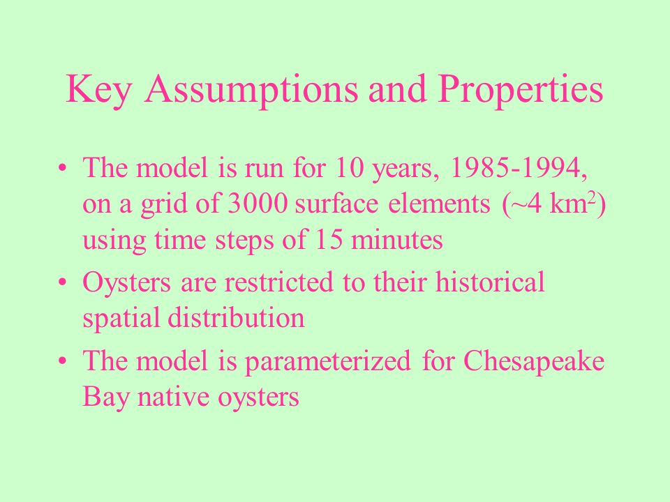 Key Assumptions and Properties A spatially-uniform mortality rate is specified that combines effects of predation, disease, and harvest Oyster biomass is dynamically computed based on local conditions including food availability, salinity, dissolved oxygen, and suspended solids