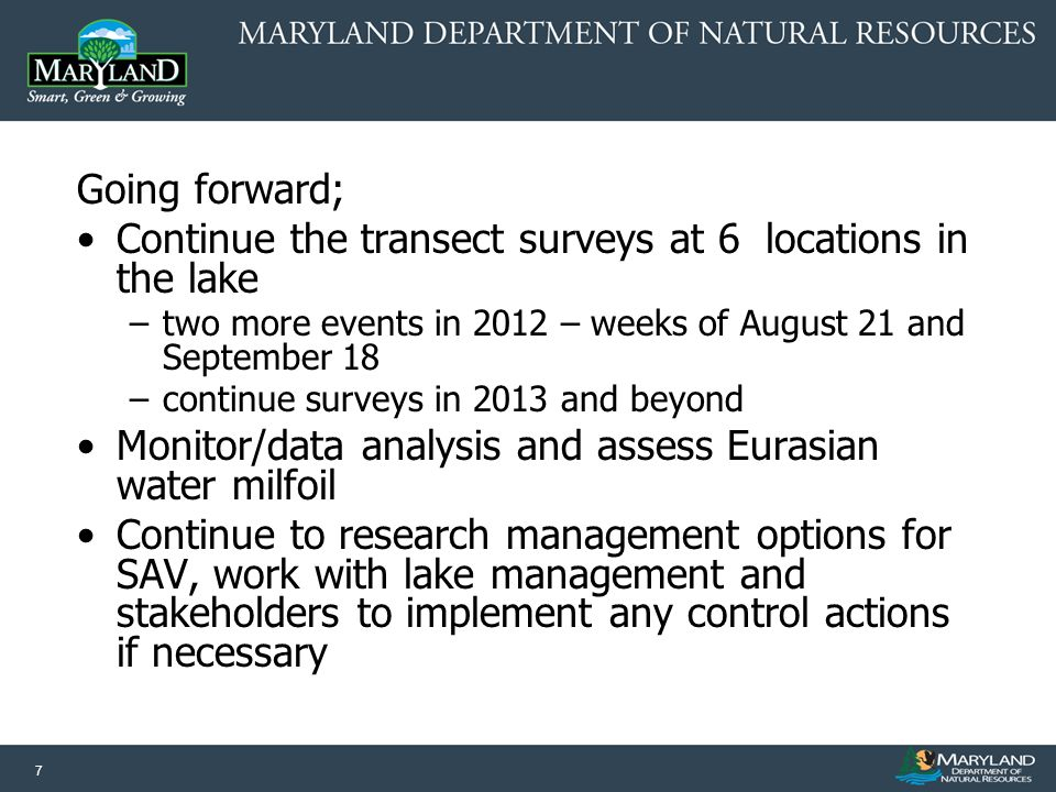 7 Going forward; Continue the transect surveys at 6 locations in the lake –two more events in 2012 – weeks of August 21 and September 18 –continue surveys in 2013 and beyond Monitor/data analysis and assess Eurasian water milfoil Continue to research management options for SAV, work with lake management and stakeholders to implement any control actions if necessary
