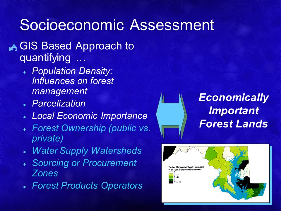 Socioeconomic Assessment GIS Based Approach to quantifying … l Population Density: Influences on forest management l Parcelization l Local Economic Importance l Forest Ownership (public vs.