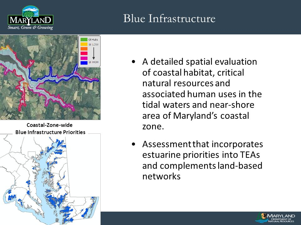 Blue Infrastructure Coastal-Zone-wide Blue Infrastructure Priorities A detailed spatial evaluation of coastal habitat, critical natural resources and associated human uses in the tidal waters and near-shore area of Marylands coastal zone.