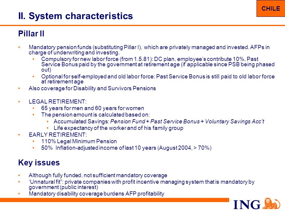 12 II. System characteristics Pillar II Mandatory pension funds (substituting Pillar I), which are privately managed and invested. AFPs in charge of u