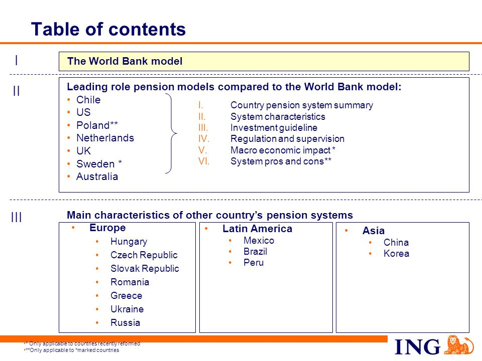 4 The World Bank model (classic definition) Publicly funded schemes, social security schemes Employer sponsored schemes or private mandatory programs Additional voluntary arrangements STATE MANDATORYVOLUNTARY IIIIII Government is responsible for adequate safety net via Pillar I Private sector plays key role in building Pillars II and III Growth will mainly be in Pillars II and III Public/private partnership is essential
