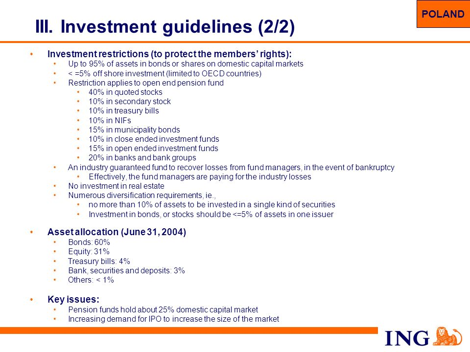 32 III. Investment guidelines (2/2) Investment restrictions (to protect the members rights): Up to 95% of assets in bonds or shares on domestic capita
