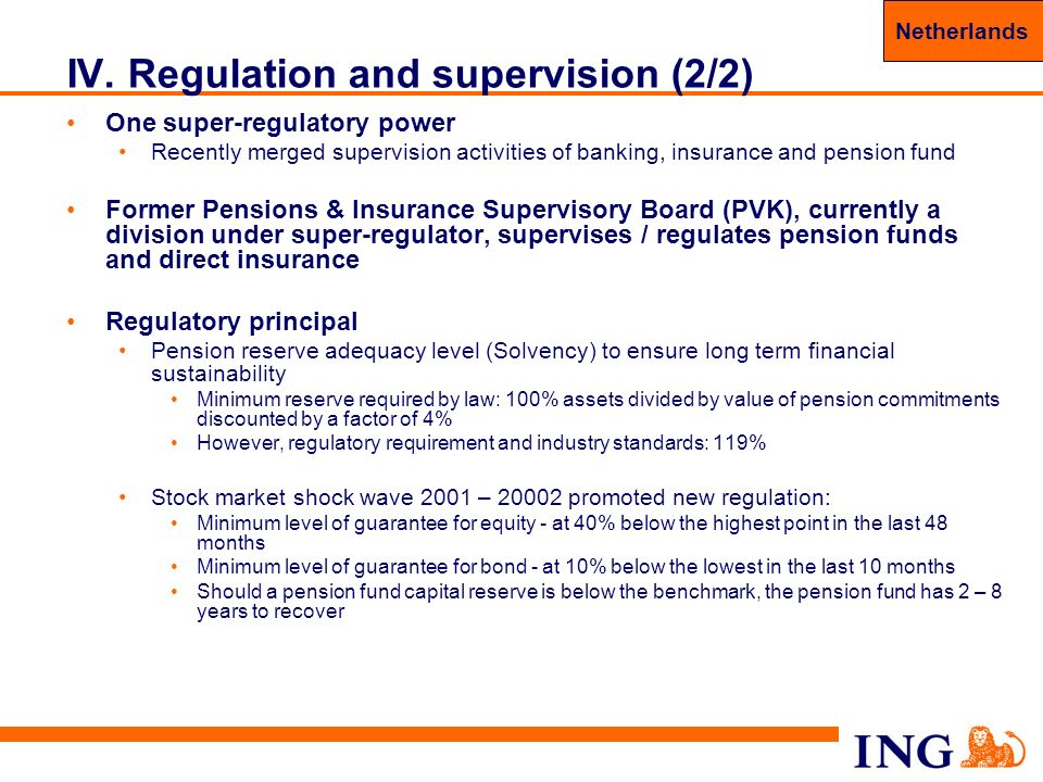 44 IV. Regulation and supervision (2/2) One super-regulatory power Recently merged supervision activities of banking, insurance and pension fund Forme
