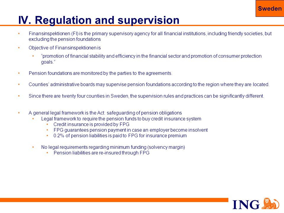 62 IV. Regulation and supervision Finansinspektionen (FI) is the primary supervisory agency for all financial institutions, including friendly societi