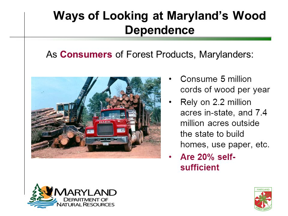 Ways of Looking at Marylands Wood Dependence Consume 5 million cords of wood per year Rely on 2.2 million acres in-state, and 7.4 million acres outside the state to build homes, use paper, etc.