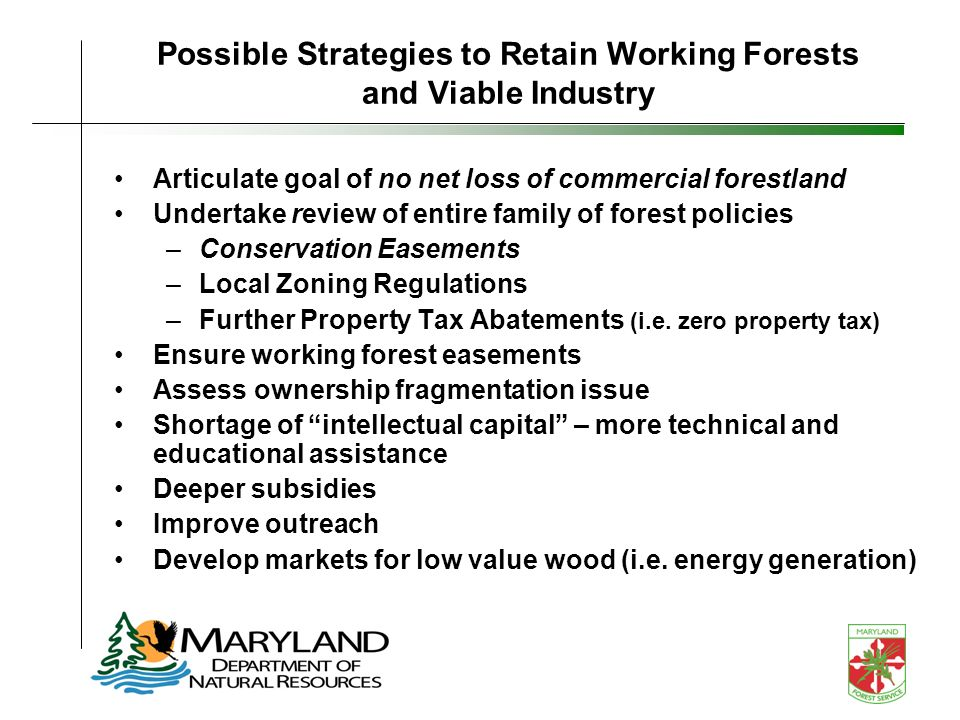 Possible Strategies to Retain Working Forests and Viable Industry Articulate goal of no net loss of commercial forestland Undertake review of entire family of forest policies –Conservation Easements –Local Zoning Regulations –Further Property Tax Abatements (i.e.