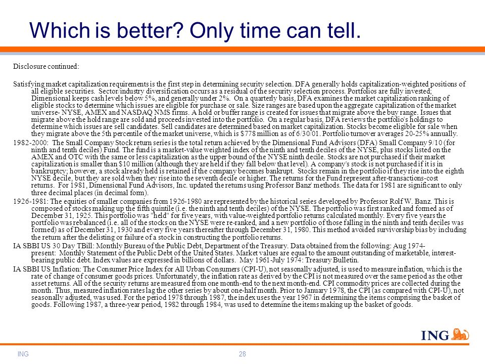 ING28 Which is better? Only time can tell. Disclosure continued: Satisfying market capitalization requirements is the first step in determining securi