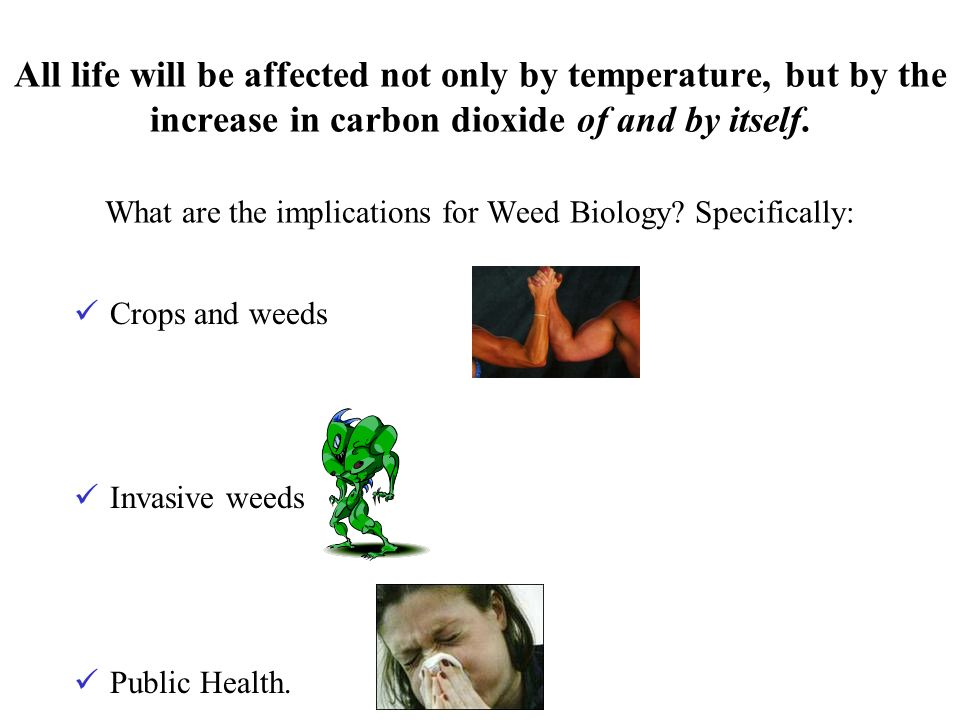 All life will be affected not only by temperature, but by the increase in carbon dioxide of and by itself. What are the implications for Weed Biology?