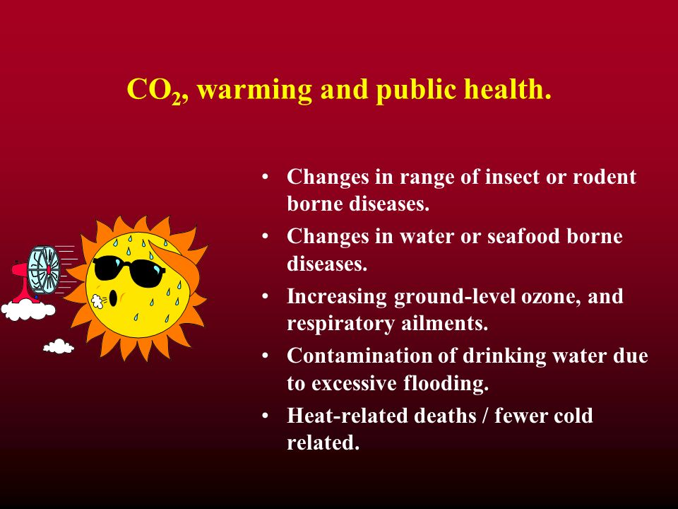 CO 2, warming and public health. Changes in range of insect or rodent borne diseases. Changes in water or seafood borne diseases. Increasing ground-le