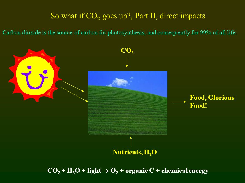 So what if CO 2 goes up?, Part II, direct impacts Carbon dioxide is the source of carbon for photosynthesis, and consequently for 99% of all life. CO