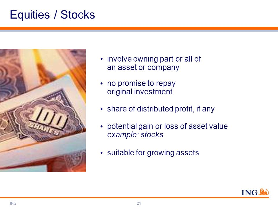ING21 involve owning part or all of an asset or company Equities / Stocks no promise to repay original investment share of distributed profit, if any