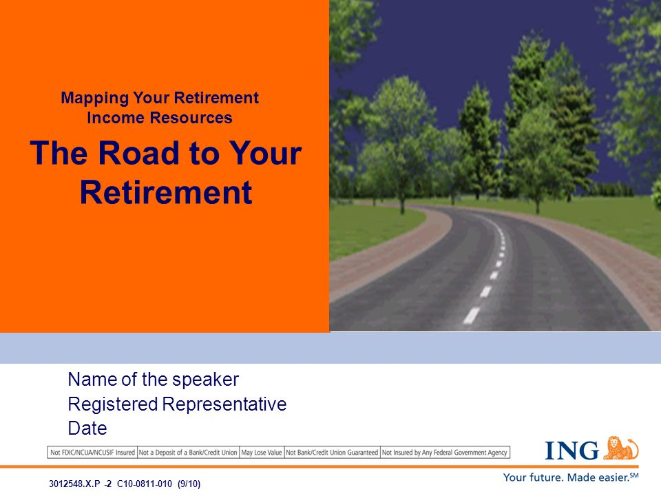 The Road to Your Retirement Mapping Your Retirement Income Resources Name of the speaker Registered Representative Date 3012548.X.P -2 C10-0811-010 (9/10)