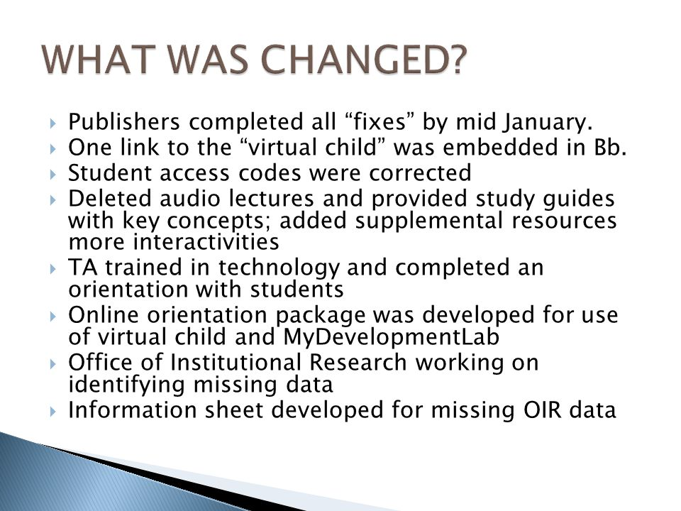 Publishers completed all fixes by mid January. One link to the virtual child was embedded in Bb.