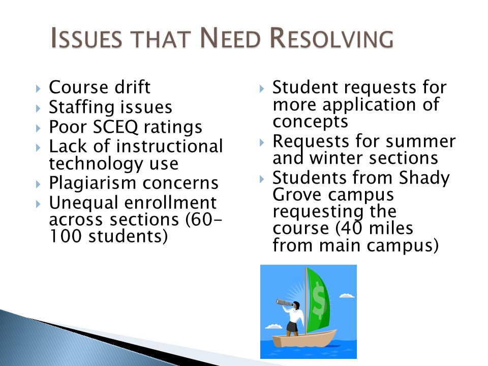 Course drift Staffing issues Poor SCEQ ratings Lack of instructional technology use Plagiarism concerns Unequal enrollment across sections (60- 100 students) Student requests for more application of concepts Requests for summer and winter sections Students from Shady Grove campus requesting the course (40 miles from main campus)