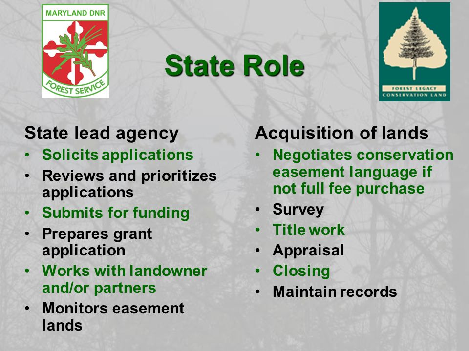 State Role State lead agency Solicits applications Reviews and prioritizes applications Submits for funding Prepares grant application Works with landowner and/or partners Monitors easement lands Acquisition of lands Negotiates conservation easement language if not full fee purchase Survey Title work Appraisal Closing Maintain records