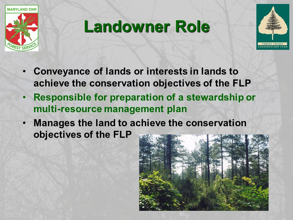 Landowner Role Conveyance of lands or interests in lands to achieve the conservation objectives of the FLP Responsible for preparation of a stewardship or multi-resource management plan Manages the land to achieve the conservation objectives of the FLP