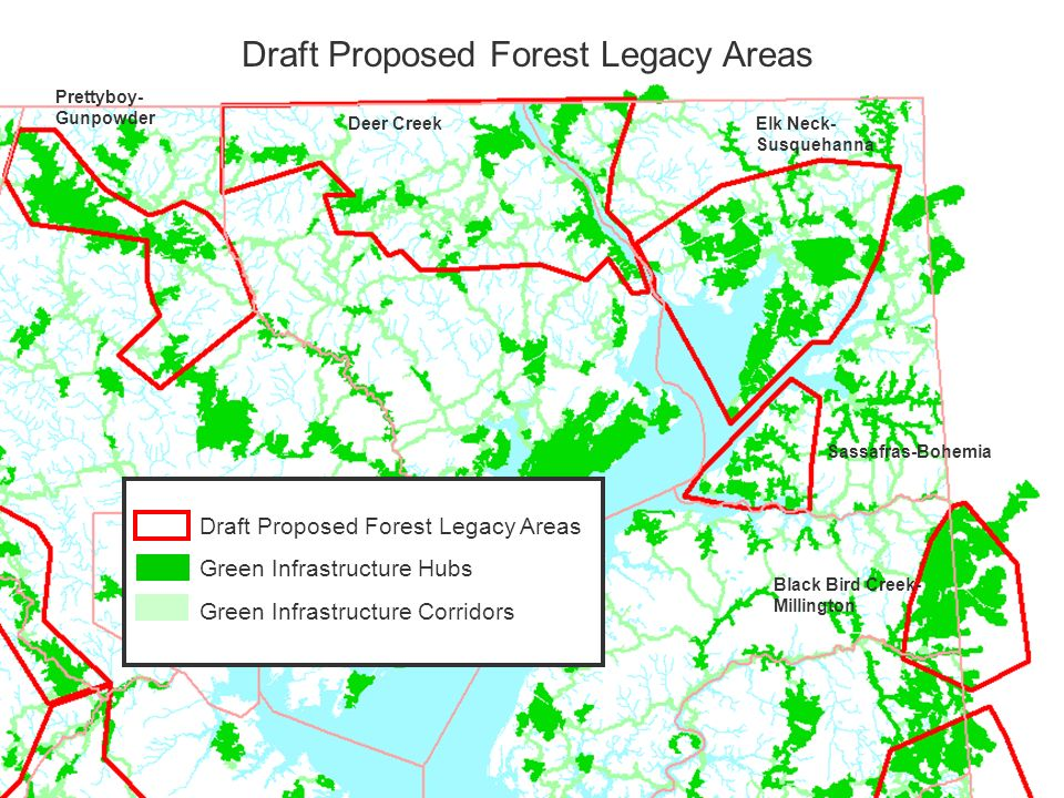 Draft Proposed Forest Legacy Areas Green Infrastructure Hubs Green Infrastructure Corridors Draft Proposed Forest Legacy Areas Sassafras-Bohemia Elk N