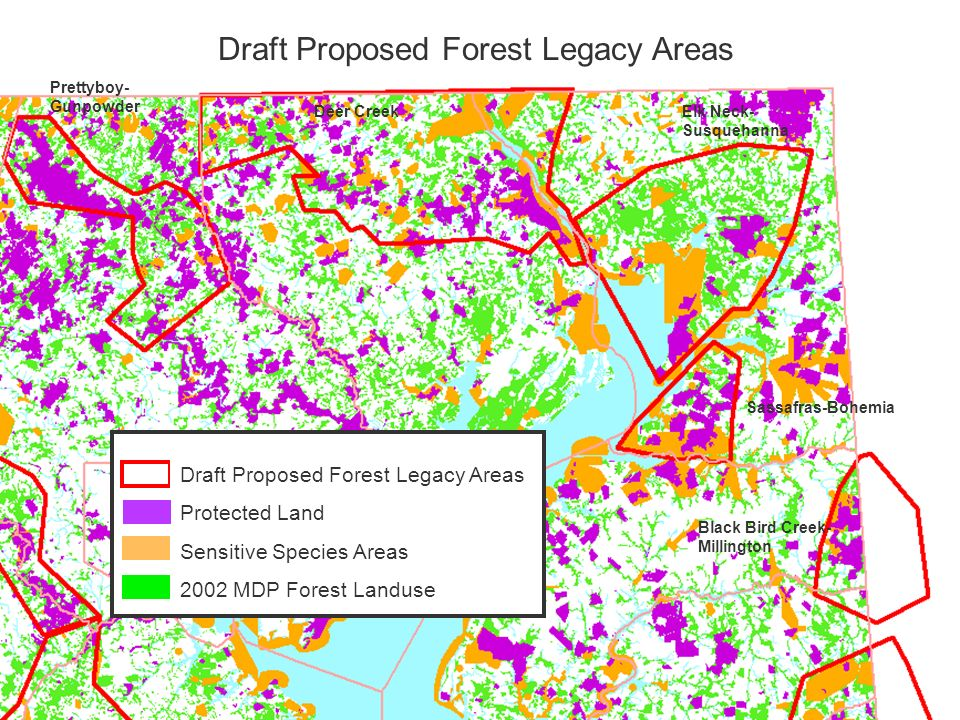 Draft Proposed Forest Legacy Areas Sassafras-Bohemia Elk Neck- Susquehanna Deer Creek Prettyboy- Gunpowder Black Bird Creek- Millington Draft Proposed Forest Legacy Areas Protected Land Sensitive Species Areas 2002 MDP Forest Landuse