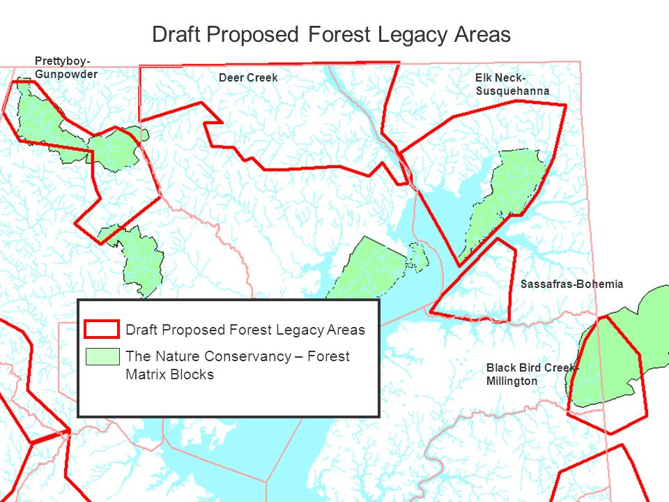 Draft Proposed Forest Legacy Areas Sassafras-Bohemia Elk Neck- Susquehanna Deer Creek Prettyboy- Gunpowder Black Bird Creek- Millington Draft Proposed Forest Legacy Areas The Nature Conservancy – Forest Matrix Blocks