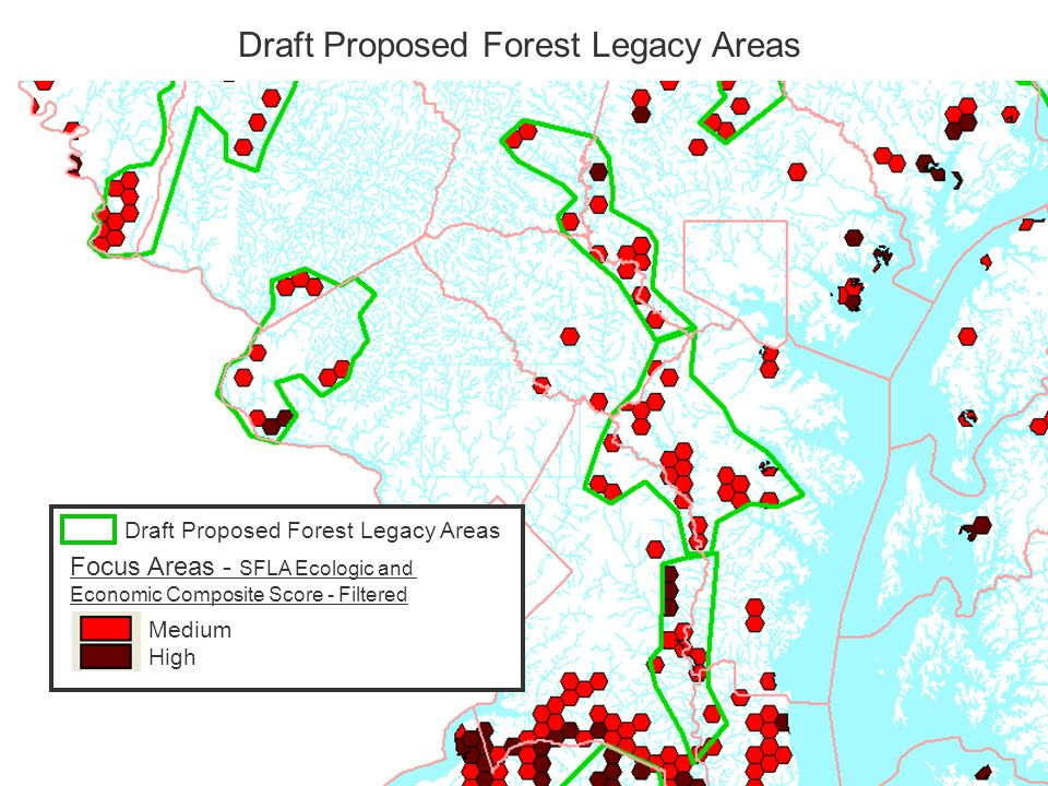 Draft Proposed Forest Legacy Areas Focus Areas - SFLA Ecologic and Economic Composite Score - Filtered Medium High