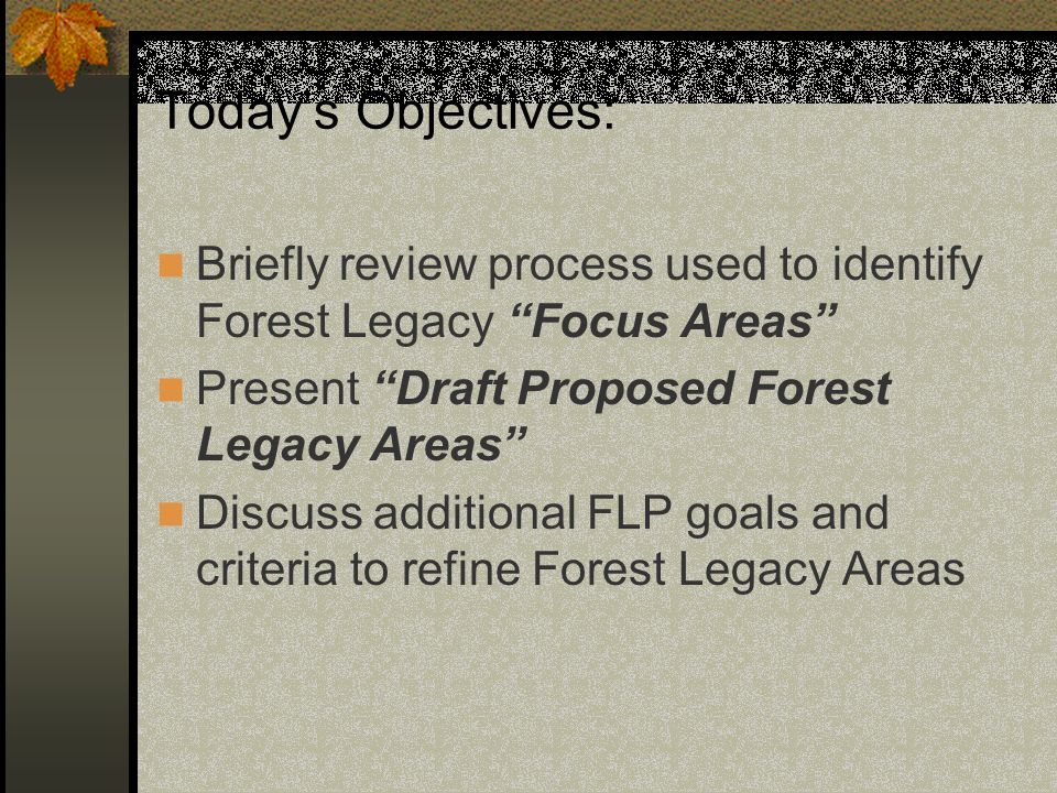 Todays Objectives: Briefly review process used to identify Forest Legacy Focus Areas Present Draft Proposed Forest Legacy Areas Discuss additional FLP goals and criteria to refine Forest Legacy Areas