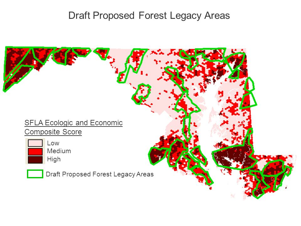 SFLA Ecologic and Economic Composite Score Low Medium High Draft Proposed Forest Legacy Areas