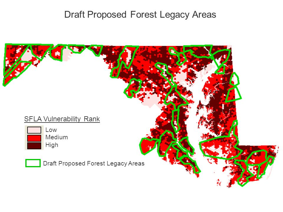 SFLA Vulnerability Rank Low Medium High Draft Proposed Forest Legacy Areas