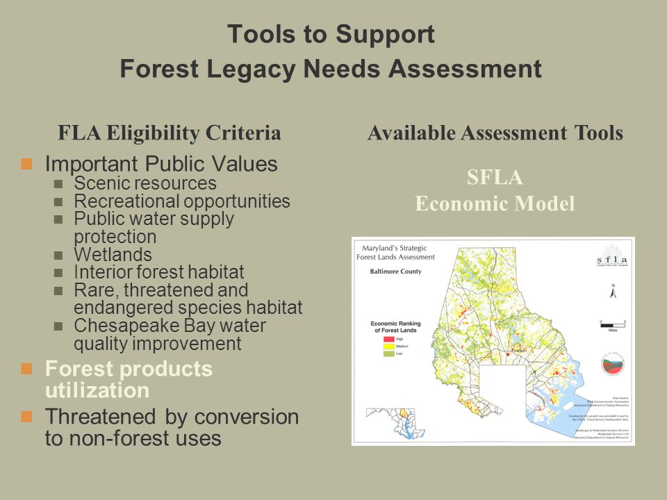 Important Public Values Scenic resources Recreational opportunities Public water supply protection Wetlands Interior forest habitat Rare, threatened and endangered species habitat Chesapeake Bay water quality improvement Forest products utilization Threatened by conversion to non-forest uses FLA Eligibility CriteriaAvailable Assessment Tools SFLA Economic Model Tools to Support Forest Legacy Needs Assessment