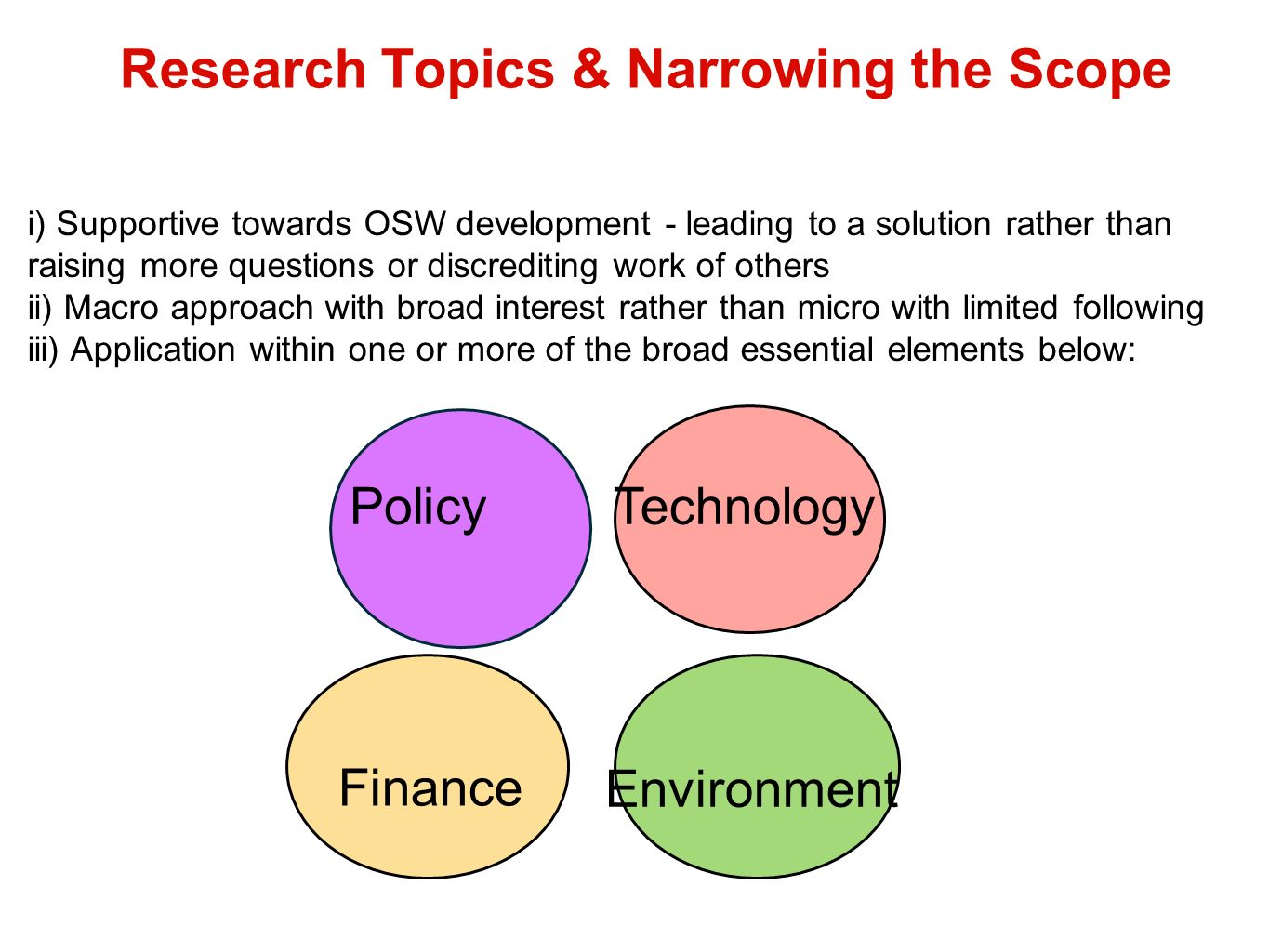 Research Topics & Narrowing the Scope Policy Environment Finance Technology i) Supportive towards OSW development - leading to a solution rather than raising more questions or discrediting work of others ii) Macro approach with broad interest rather than micro with limited following iii) Application within one or more of the broad essential elements below:
