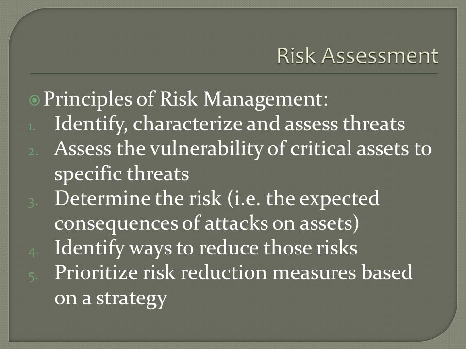 Principles of Risk Management: 1. Identify, characterize and assess threats 2.