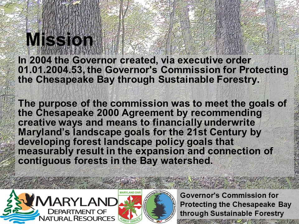 Governor s Commission for Protecting the Chesapeake Bay through Sustainable Forestry Recommended Strategies and Actions to Address Forest Threats Encourage Landowners to Keep Forests in Forests oFinancial and Technical Assistance for Landowners oAdvance legislation to expand upon the financial incentives available oEncourage MALPF to provide parity between agriculture and forestry oIntroduce legislation to eliminate the $200,000 funding cap on the Woodland Incentive Program oRequest performance and/or fiscal compliance audit to review how the Agricultural Land Transfer Tax is assessed and allocated oReward landowners for sustainable forest management
