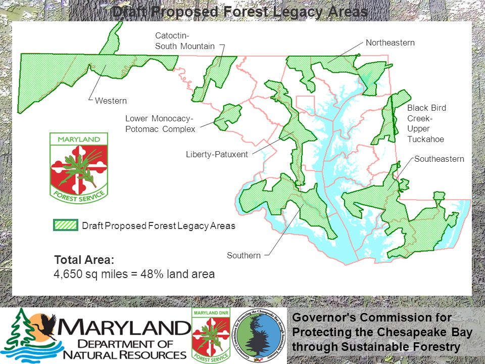 Governor's Commission for Protecting the Chesapeake Bay through Sustainable Forestry Draft Proposed Forest Legacy Areas Total Area: 4,650 sq miles = 4
