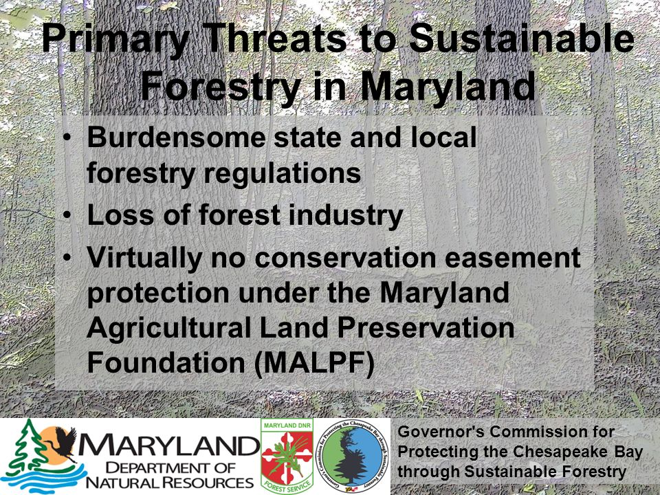 Governor's Commission for Protecting the Chesapeake Bay through Sustainable Forestry Primary Threats to Sustainable Forestry in Maryland Burdensome st