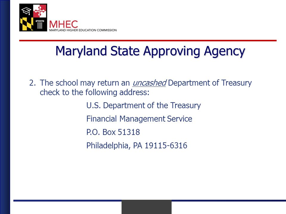 April 2010 Maryland State Approving Agency 2.