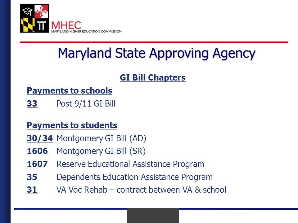 April 2010 Maryland State Approving Agency GI Bill Chapters Payments to schools 33Post 9/11 GI Bill Payments to students 30/34Montgomery GI Bill (AD) 1606Montgomery GI Bill (SR) 1607Reserve Educational Assistance Program 35Dependents Education Assistance Program 31VA Voc Rehab – contract between VA & school