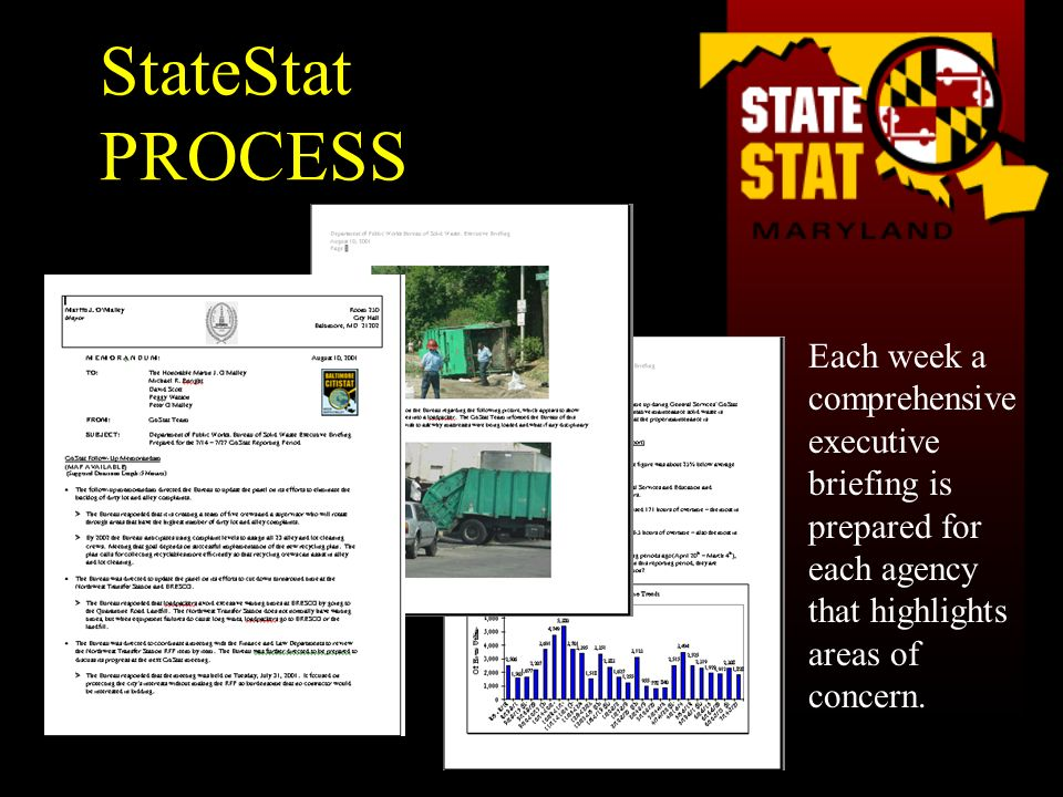 Each week a comprehensive executive briefing is prepared for each agency that highlights areas of concern. StateStat PROCESS