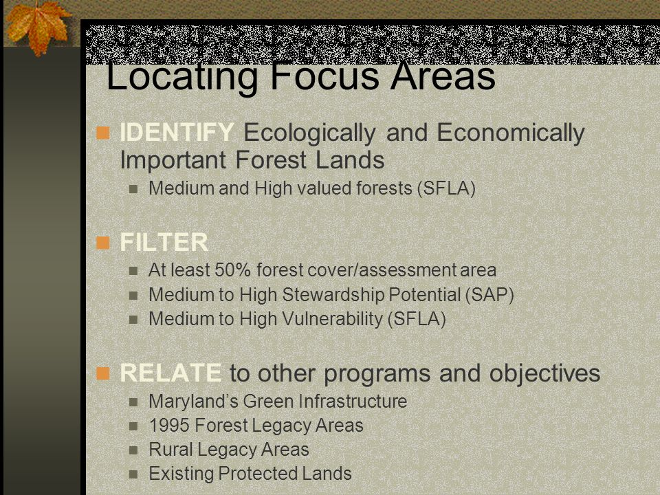 Locating Focus Areas IDENTIFY Ecologically and Economically Important Forest Lands Medium and High valued forests (SFLA) FILTER At least 50% forest co