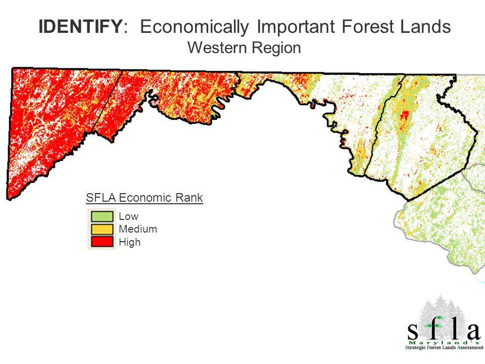 SFLA Economic Rank Low Medium High IDENTIFY: Economically Important Forest Lands Western Region