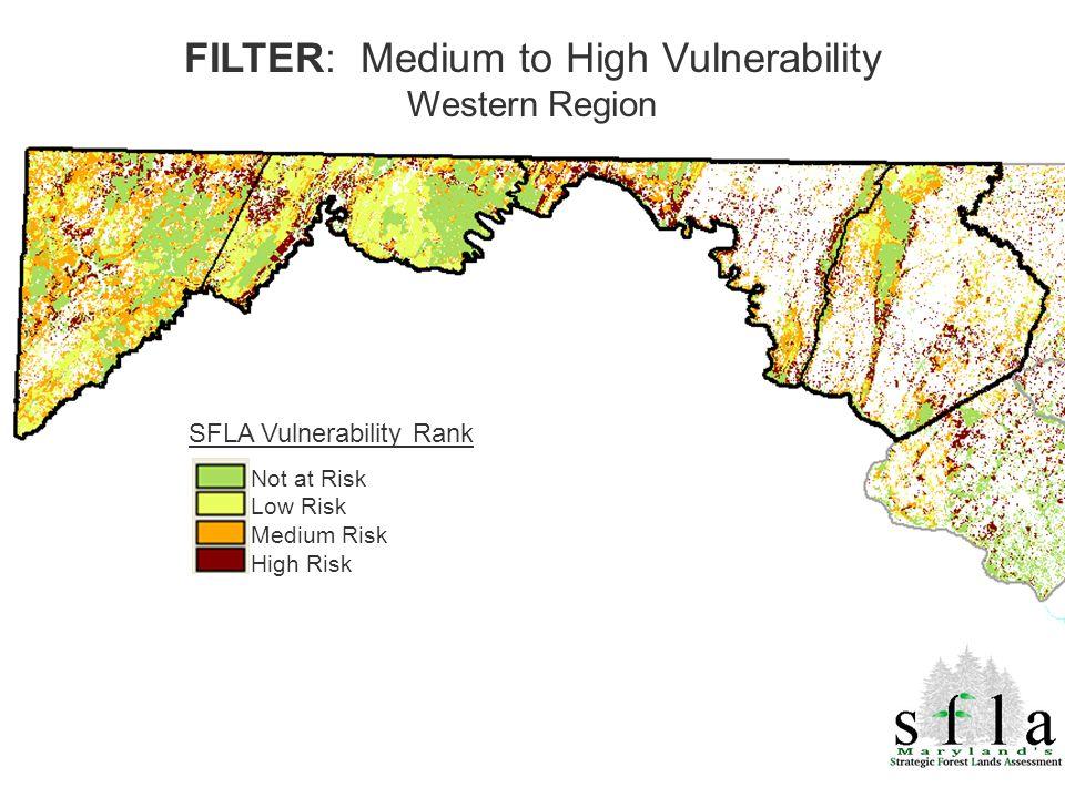 SFLA Vulnerability Rank Not at Risk Low Risk Medium Risk High Risk FILTER: Medium to High Vulnerability Western Region