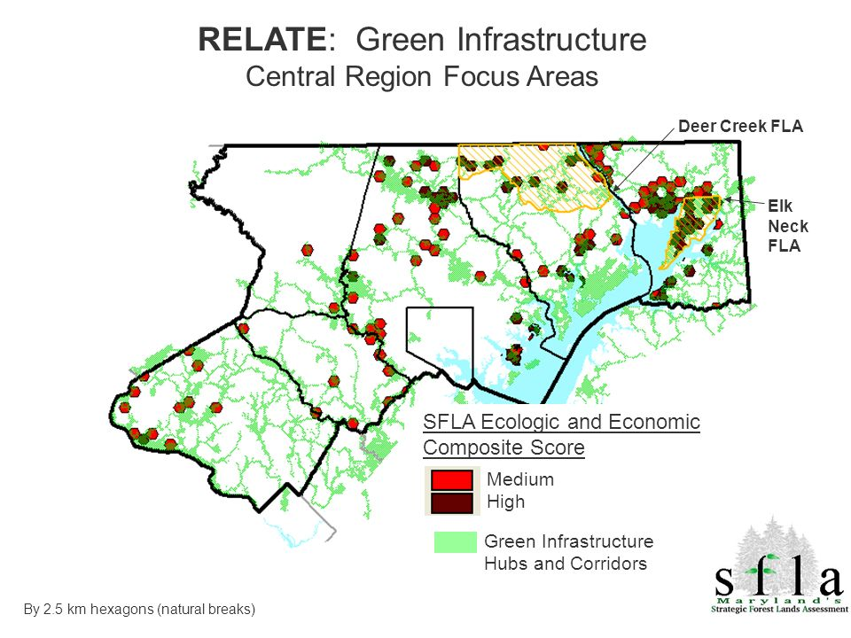 Green Infrastructure Hubs and Corridors Medium High By 2.5 km hexagons (natural breaks) SFLA Ecologic and Economic Composite Score Deer Creek FLA Elk