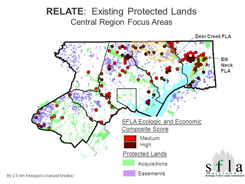 Acquisitions Easements Protected Lands Medium High By 2.5 km hexagons (natural breaks) SFLA Ecologic and Economic Composite Score Deer Creek FLA Elk N